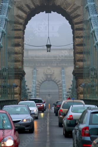 Poster Cars on Chain Bridge, Budapest