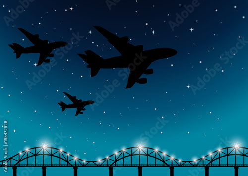Fotobehang Nachtblauw Background scene with airplanes flying at night