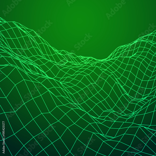 Foto op Aluminium Groene Wireframe terrain vector background. Cyberspace landscape grid technology illustration