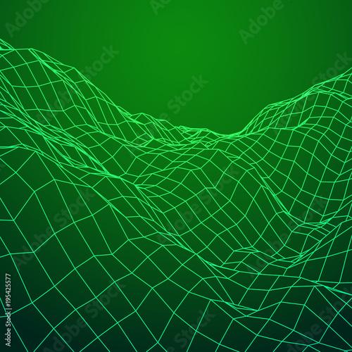 Deurstickers Groene Wireframe terrain vector background. Cyberspace landscape grid technology illustration