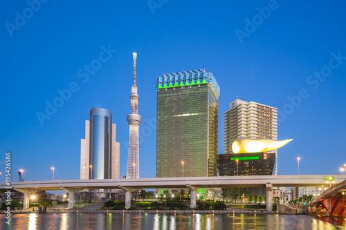 Aluminium Tokio Tokyo city skyline at night near Asakusa area in Tokyo, Japan
