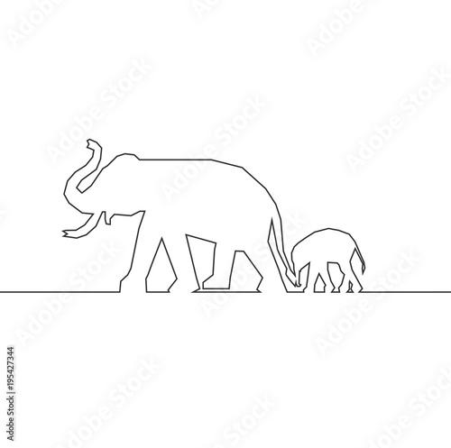 Wall mural elephant logo , vector