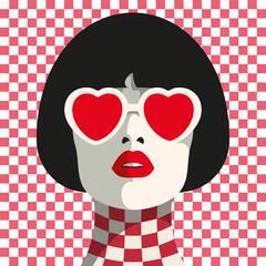 Stylish woman with heart glasses and bob haircut. Seamless geometric pattern. Chess pattern.