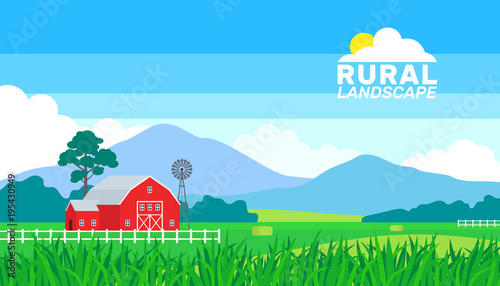 Aluminium Blauw summer rural landscape farming countryside background