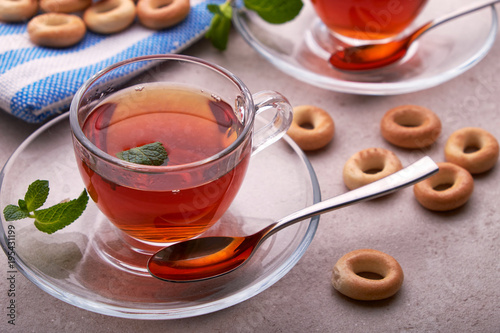 Papiers peints The tea hot drink with lamb and mint