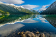 Chilliwack Lake with the reflecting Mount Redoubt (Skagit Range Mountains) in the backround