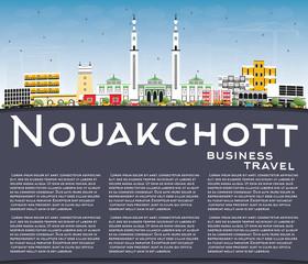 Nouakchott Mauritania City Skyline with Color Buildings, Blue Sky and Copy Space.
