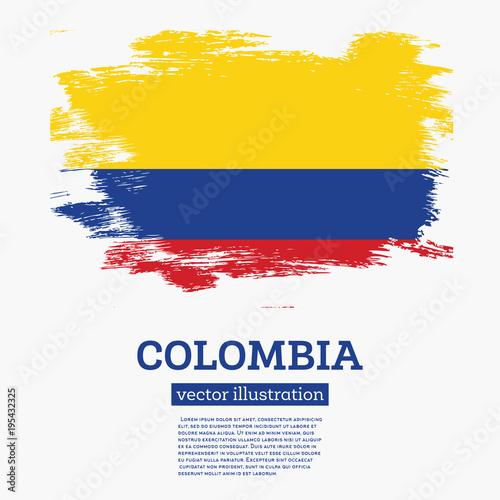 Fototapeta Colombia Flag with Brush Strokes.