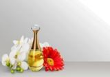 Aromatic Perfume bottles on desk - 195434515