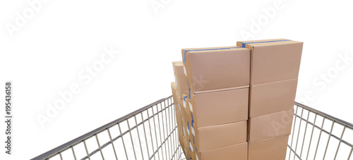 shopping cart in supermarket, boxes and white background