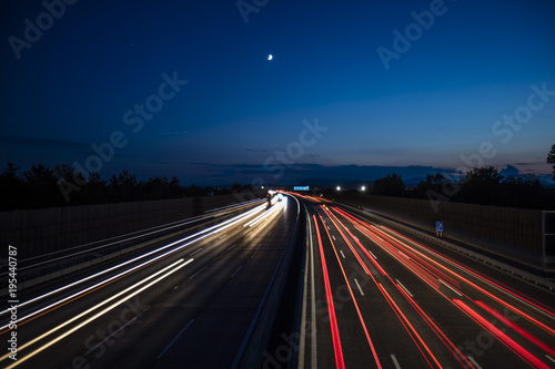 Fotobehang Nacht snelweg night highway traffic
