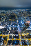 Aerial view of business district of Hong Kong at night - 195443380