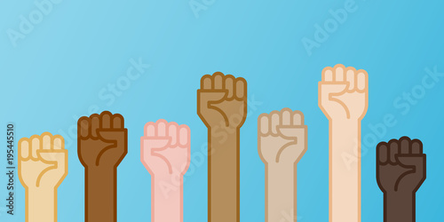 Multiracial fists hands up vector illustration  Concept of unity