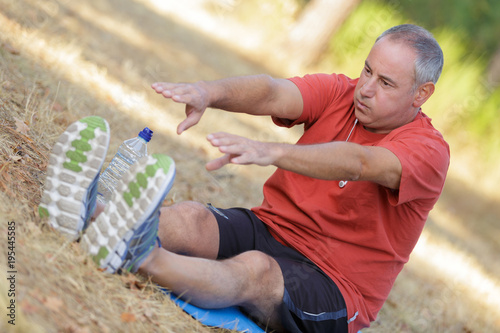 man doing the stretching