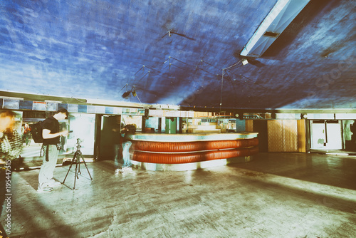 Fototapeta Abandoned discotheque with wooden colorful interior
