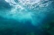 Sea foam formed by wave breaking on rock, seen from underwater, Mediterranean sea, Cote d'Azur, France