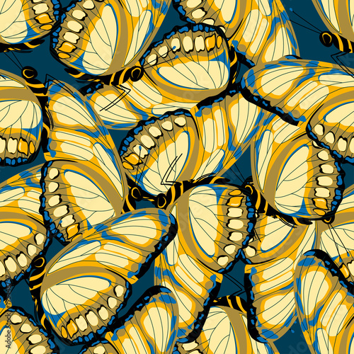 pattern with butterflies on blue
