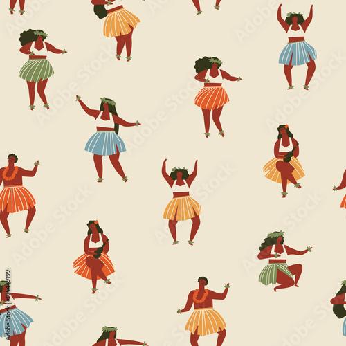 Cotton fabric Hawaii dance seamless pattern.
