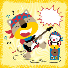 Funny music player cartoon