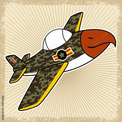 Fototapeta Fighter jet cartoon