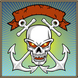 vector of skull with two anchors and banner