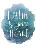 Blue sea water watercolor ink hand drawn stroke isolated paper grain texture spot on white background for design, decoration. Listen to your heart inscription - 195457952