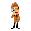 Vector drawing of a detective man, he is looking through a magnifying glass - 195460101