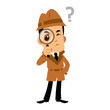 Vector drawing of a detective man, he has a doubt - 195460120