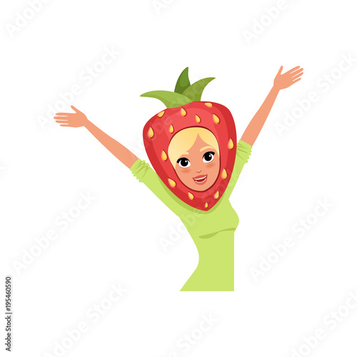 Smiling woman character in strawberry headwear vector Illustration on a white background