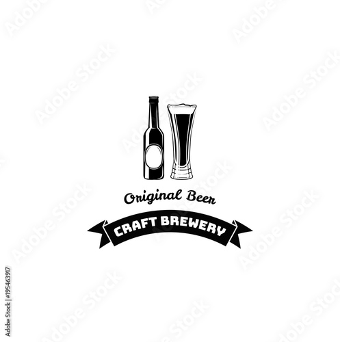 Beer Bottle And Glass Craft Beer Lettering Ribbon Vector