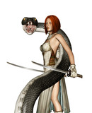 Female warrior with giant snakes isolated on white background,3d rendering fantasy horror for book cover or book illustration - 195464388
