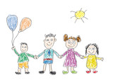 Drawing Made By A Child Happy Family Wall Sticker