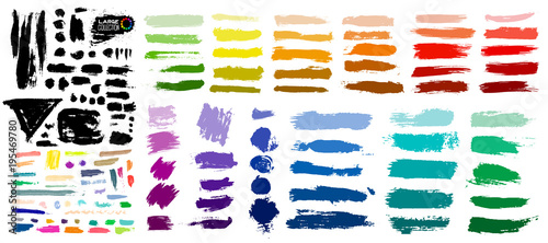 Big colorful of paint, ink brush strokes, brushes, lines, grungy. Dirty artistic design elements, boxes, frames. Vector illustration. Isolated on white background. Freehand drawing