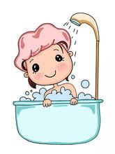 Cartoon Cute Bathing Child Girl  Sticker
