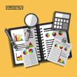 business notebook calculator magnifier documents statistics data vector illustration