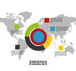 world map with infographic elements chart statistics vector illustration