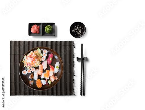 Aluminium Sushi bar Sushi Set nigiri, sushi rolls and sashimi