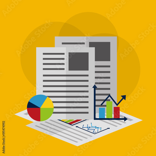 business documents report documents working management statistics data analysis vector illustration