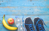 Fitness workout, running and reducing weight for the springtime, concept,free copy space,flat lay
