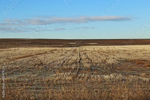 Aluminium Blauw Country view with blue sky