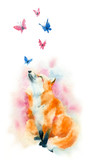 Watercolor illustration. Fox and butterflies on white background.