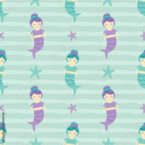 Cotton fabric Cute seamless pattern background with mermaid girls and sea stars.