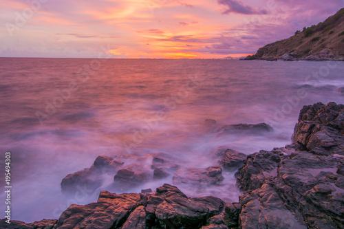 Aluminium Zee zonsondergang Seascape and evening sky