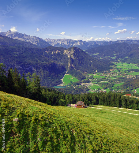 Alps mountains of Germany and green pasture landscape