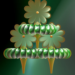 Computer generated 3D fractal.Flower fantasy.Green flowers with orange hearts on green background.