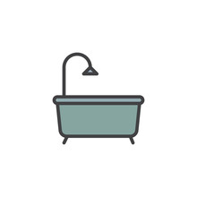 Bath Filled Outline Icon Line  Sign Linear Colorful Pictogram   Bathtub Symbol Logo Illustration Pixel Perfect  Graphics Sticker