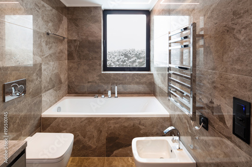 Wall mural Luxurious marble bathroom with window
