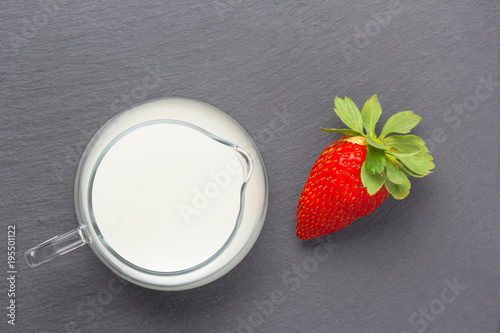 Fotobehang Milkshake strawberries with milk