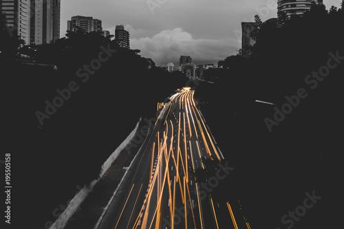 Aluminium Nacht snelweg Long Cityscape