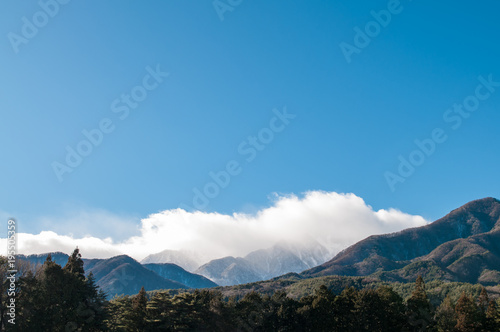 Aluminium Blauw Landscape of Mountain with clouds and sky.